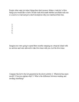 Economics Worksheet (A Want v. A Need)