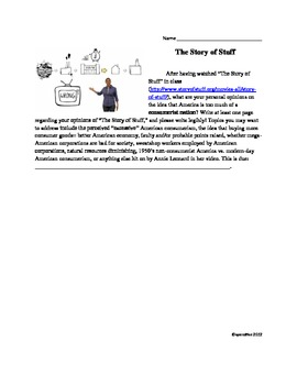 Economics and Business: The Story of Stuff video and Short Essay reflection