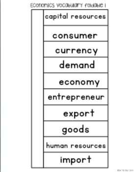 Economics Interactive Vocabulary Sort