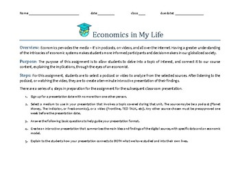 Economics in My Life Project