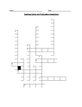 Economics:Business Cycles and Fluctuations Vocabulary Crossword