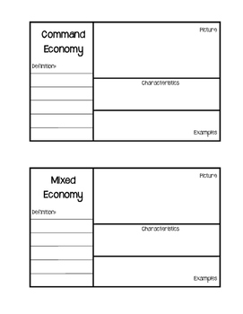 Economies Vocabulary Interactive Notebook Activity