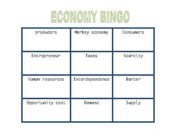 Economy Review Matching & BINGO Game