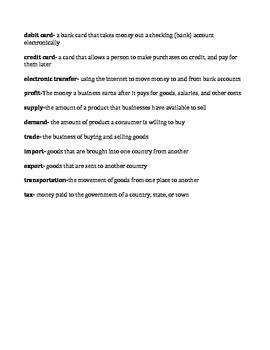 Economy Unit Vocabulary Recording Sheet + Answer Key