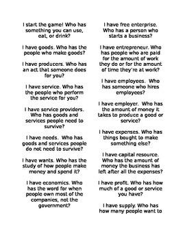 Economy Vocabulary I have...Who has