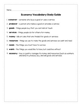 Economy Vocabulary Study Guide and Quiz