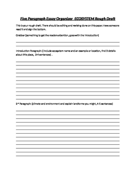 ecosystem paragraph essay rough draft by schiff stuff tpt ecosystem 5 paragraph essay rough draft