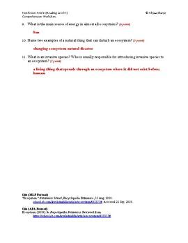 Ecosystem Article (Reading Level 1) Comprehension Worksheet