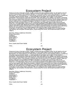 Ecosystem Biome/Food Web Project