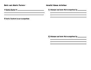 Ecosystem Booklet - Culminating Task for Ontario Grade 7 Ecosystem Unit