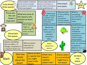 Ecosystem Comprehension Questions, Writing, Games, and Activities Bundle