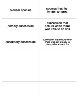 Ecosystem Dynamics Vocabulary Flash Cards for Middle School Science