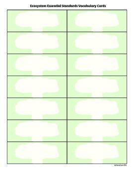 Ecosystem Essential Standards Vocabulary Cards