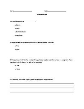 Ecosystem Exam