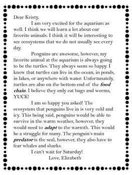 Ecosystem / Food Chain Letters