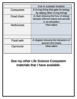 Ecosystem, Food Chain, and Web Vocabulary Cards