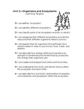 "Ecosystem ""I Can"" Statements - 5th Grade - Ohio"