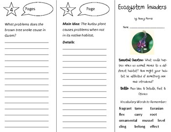 Ecosystem Invaders Trifold - Open Court 3rd Gr Unit 4 Lesson 5