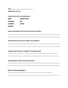 Ecosystems Study Guide