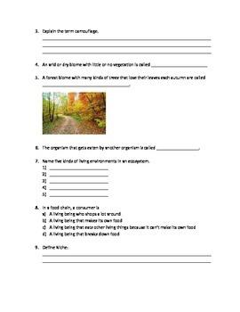 Ecosystem Test Grade-4