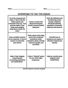 Ecosystem Tic-Tac-Toe Board