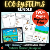 Ecosystem NGSS LS2: Living, Food Chains & Webs, Producers Consumers Decomposers