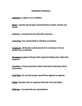 Ecosystem Vocabulary Sheet