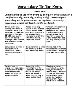Ecosystem Vocabulary Tic-Tac-Know