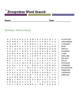 Ecosystem Word Search