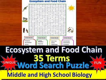 Ecosystem and Food Chain -  a fun & unique Word Search Puzzle (Grades 7-12)