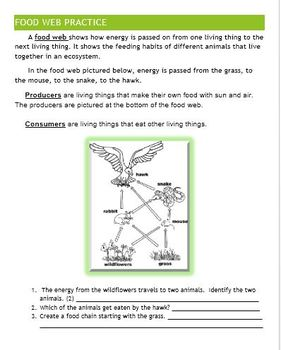 Ecosystem and Food Energy Unit Lessons