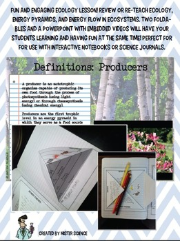 Ecosystem trophic levels 3D foldables PowerPoint with videos food web food chain