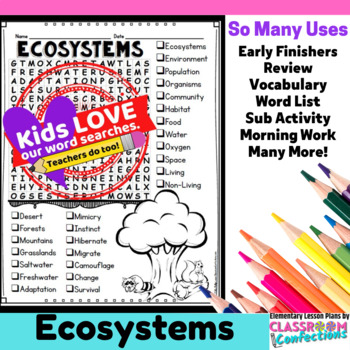 Ecosystems Activity: Ecosystems Word Search