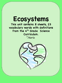 Ecosystems 4th Grade Science Vocabulary
