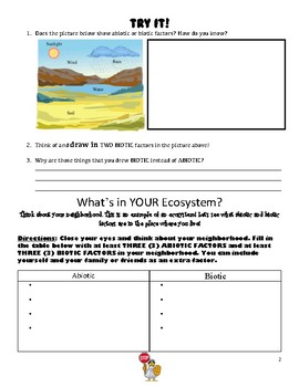 Ecosystems - Abiotic and Biotic Factors Extension Lesson