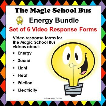 Energy Bundle Set of 6 Magic School Bus Video Response Worksheets