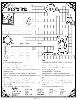 Ecosystems Crossword