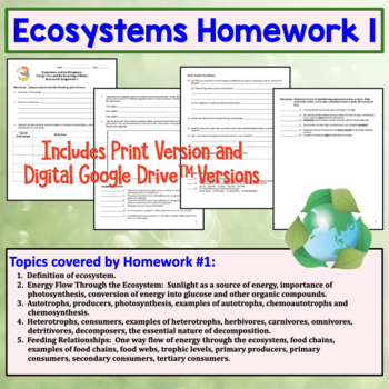 Ecosystems: Energy Flow and the Recycling of Matter Homework Set