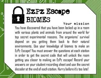 Biomes Science Escape Room