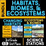 Ecosystems, Habitats, Biodiversity 5E Unit AND Science Station BUNDLE 3rd Grade