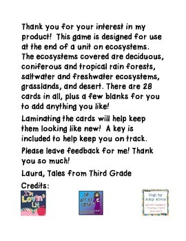 Ecosystems/ Habitats I Have, Who Has Game