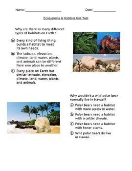 Ecosystems & Habitats Test