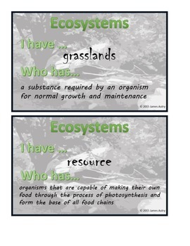 Ecosystems I Have... Who Has... / Ecosystem Vocabulary Game/Review