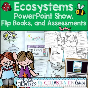 Ecosystems Interactive Notebook Flip Books, PowerPoint Show, & Assessments