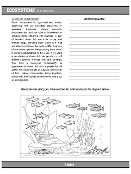 Ecosystems Introduction Article, Task Cards, and Graphic Organizer