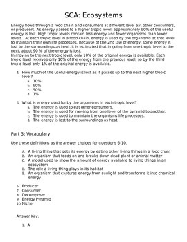 Ecosystems Literacy Quiz