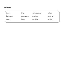 Speech Therapy-Special Education-Ecosystems Modified Worksheet