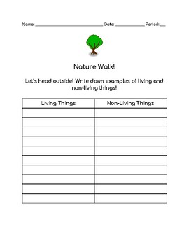 Ecosystems - Nature Walk with Writing Component