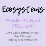Ecosystems PBL Unit   Middle School   NGSS LS1-6, 2-1, 2-2, 2-3, 2-4, 2-5