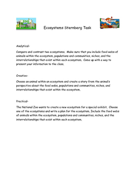 Ecosystems Performance Task